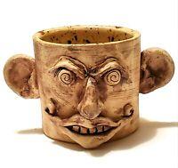 Face 3D Stoneware Mug Cup Creepy Weird Pottery Artisan Folk Art Handmade Piece