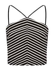 Ladies FOREVER NEW Striped Crop Top. Size 14. NWT