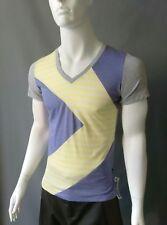 Emily Sharp Mens hand made Geometric T-shirt. Grey and purple. S, M or XL