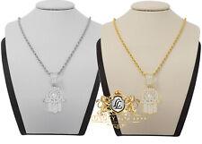 Genuine Silver Simulated Diamond Hamsa Hand Mini Pendent Charm Chain Set Unisex