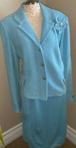 ST JOHN Size 16  Baby Blue Blazer Jacket Skirt Suit - Evening Wear &  Couture