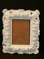 Ornate Leaves White Picture Frame Shabby Cottage French Country 5x7 READ Descr.