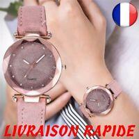 Montre Romantique Ciel étoilé Bracelet Cuir Strass Horloge Femme Bijoux Mode