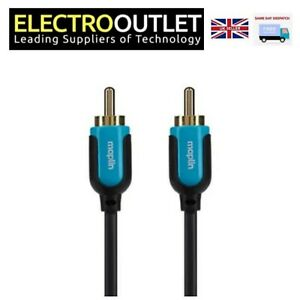Single Phono RCA SUBWOOFER Cable Male to Male Plug Speaker Lead Audio GoldPlated