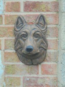 Alsation/German Shepherd dog head wall plaque concrete garden ornament
