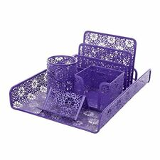 NEW Crystallove Set of 5 Purple Metal Mesh Desktop Supplies Organizer SHIPS FREE
