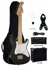 "New Raptor EP-5 Mini ST BLACK 31"" Kid's Electric Guitar Pack w/ 5 Watt Amp, Bag"