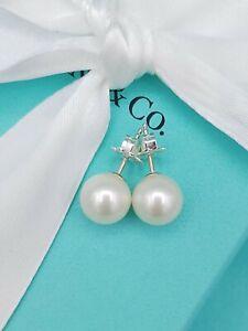 Retired Genuine Tiffany & Co Pearl Sterling Silver 8mm Bead Stud Earrings