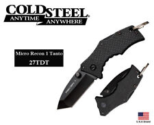 Cold Steel Folding Knife Micro Recon 1 Tanto AUS-8A Steel TRI-AD Lock 27TDT