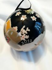 VERA BRADLEY DOGWOOD LARGE ORNAMENT GLASS 2012 CHRISTMAS BALL IN BOX