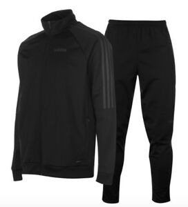 Adidas 3 Stripe Herren Trainingsanzug Tracksuit Jogginganzug Schwarz Grau Sport