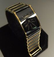 Ladies Genuine Rado Integral Black Gold Ceramic  Rectangular R20789162