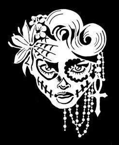 high detail airbrush stencil sugar skull    FREE UK POSTAGE