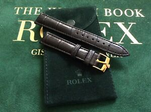 18mm Rolex Black Leather Band w/ 16mm Rolex Gold Plated Buckle and Rolex Pouch