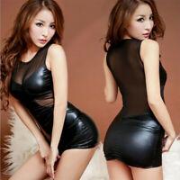 Women Black PU Leather Bodycon Short Mini Pencil Dress Mesh Wet Look Clubwear