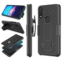 For Motorola Moto E 2020 HOLSTER BELT CLIP COMBO CASE COVER WITH KICKSTAND