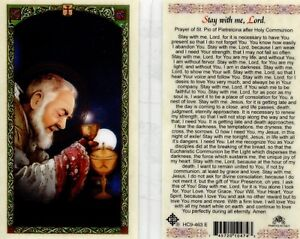 Stay With Me Lord Saint Pio of Pietrelcina after Holy Communion Laminated Card