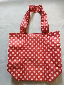 Sachi Insulated Foldable Market Tote Bag Red/White Design 14.5 x 13.5 x 5.5