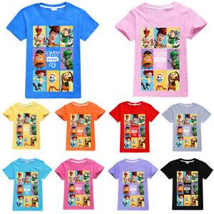 Kids Boys Girls Cartoon Printed Toy Story 4 Summer T-Shirt Tops Short Sleeve Tee