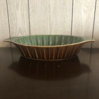 Savinio Designs Stoneware Green and Brown Fluted Baking Cooking Casserole Dish!!