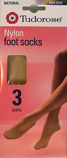 Tudorose One Size Nylon Footsies Pack of 3 Pairs in a Natural shade