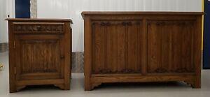 3 pcs Bedroom Furniture Set - hand carved solid Oak
