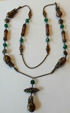 VINTAGE ART DECO GREEN & BROWN SWIRL GLASS BEAD FILIGREE NECKLACE STUNNING