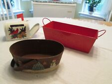 Christmas Tins Decorative Storage Display Hand Painted Basket Mailbox Cardinal