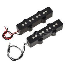 Pair of 4 String Bridge Neck Pickups Set for Fender Jazz Bass Black Open Style