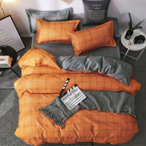 Orange Plaid Cotton Bedding Quilt Cover Set With Pillowcase Single Queen King