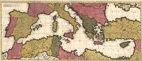 1695 Map of the Mediterranean Sea Region Historic Wall Art Poster Print Decor