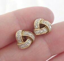 knot stud earrings, 9k 375 9ct gold pair of diamond lovers