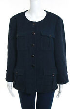 Chanel Blue Cotton Long Sleeve Stud Accents Coat Size 46