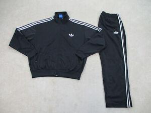 VINTAGE Adidas Track Suit Adult 2XL XXL Black White Pants Jacket Coat Mens 90s*