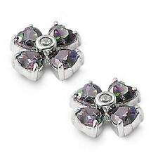 Silver Earrings with Cubic Zirconia Stud Rainbow Topaz Height 10 mm (0.42 inch)