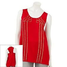 NWT Rock & Republic Embellished Racerback Tank Red bronze bead accents size XS