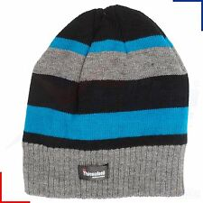 Boys Black Cream Grey Stripe Thinsulate Thermal Beanie Hat - up to 12 Years