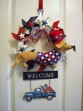 "Dachshund Patriotic Felt Sculpture 14"" Metal Pinwheels 4th of July USA Wreath"