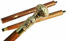 Victorain Solid Brass Wooden Walking Cane Brass Long Ball Head Handle Stick Gift