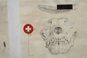 UNCONVENTIONAL MODERNIST GRAPHIC MIXED MEDIA ARTWORK - FEATHERS SKULL-SIGNED P22
