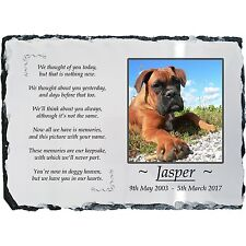 Pet Dog Photo Memorial Slate Plaque -Beautiful Poem -Personalised -YOUR Picture!