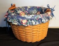 1993 Longaberger Wildflower Basket with liner 10111 leather handles