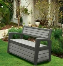 227 Litre Wood Texture Plastic Garden Storage Bench Box Chair Grey