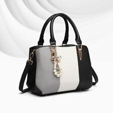 Ladies Black Shoulder Handbag Women DESIGNER Tote Faux Leather Casual Stripe Bag