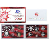 2000 US Mint Silver  Proof set  90% state Quarters Kennedy - (OGP) 10 coins
