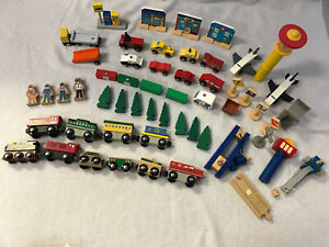 Kidkraft and Various Wooden Trains Cars Buildings People Figures Magnetic