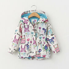 Casual Kids Boys Girl Long Sleeve Animals Handprint Jacket Coat Hooded Outerwear