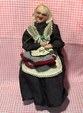 Antique French Tagged Bernard Ravca Stockinette Cloth Doll Grandma Knitting Nice