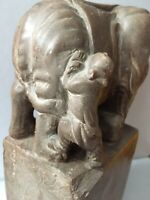 Antique Vintage Oriental Hand Carved Stone ? Resin?  Elephant and Man