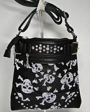 """""""NWT"""" Black & White Multi Skull Pattern on Sequin Cross Body Sling Purse Bag"""